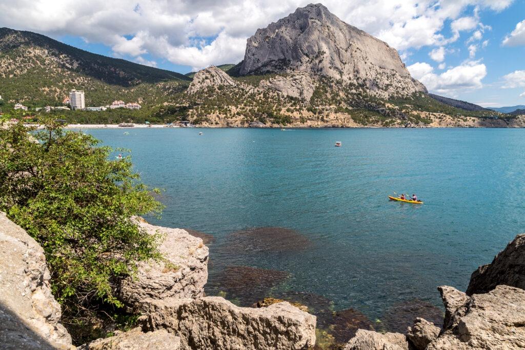 Kayaking off the coast of the Crimea.